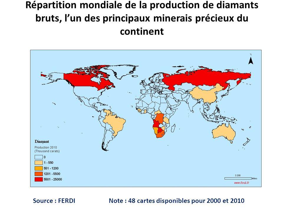 Répartition mondiale de la production de diamants bruts, l'un des principaux minerais précieux du continent