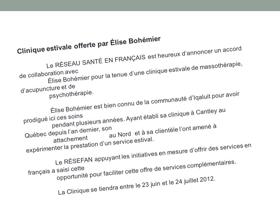 Clinique estivale offerte par Élise Bohémier