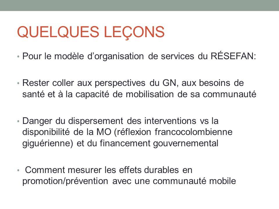 QUELQUES LEÇONS Pour le modèle d'organisation de services du RÉSEFAN: