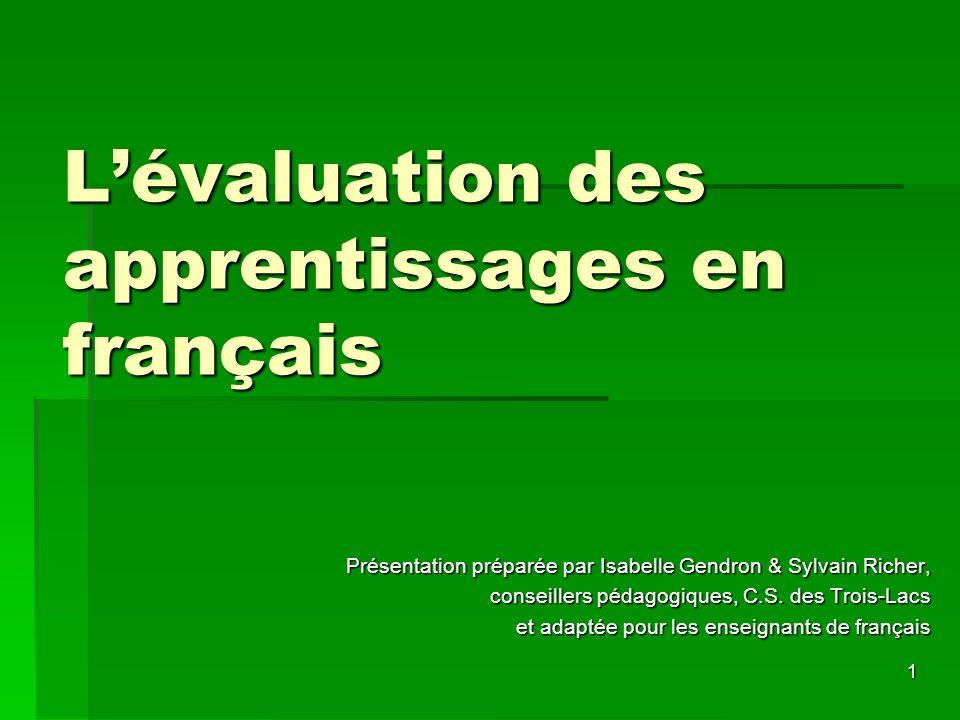 L'évaluation des apprentissages en français
