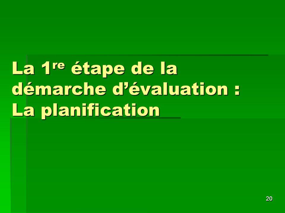 La 1re étape de la démarche d'évaluation : La planification