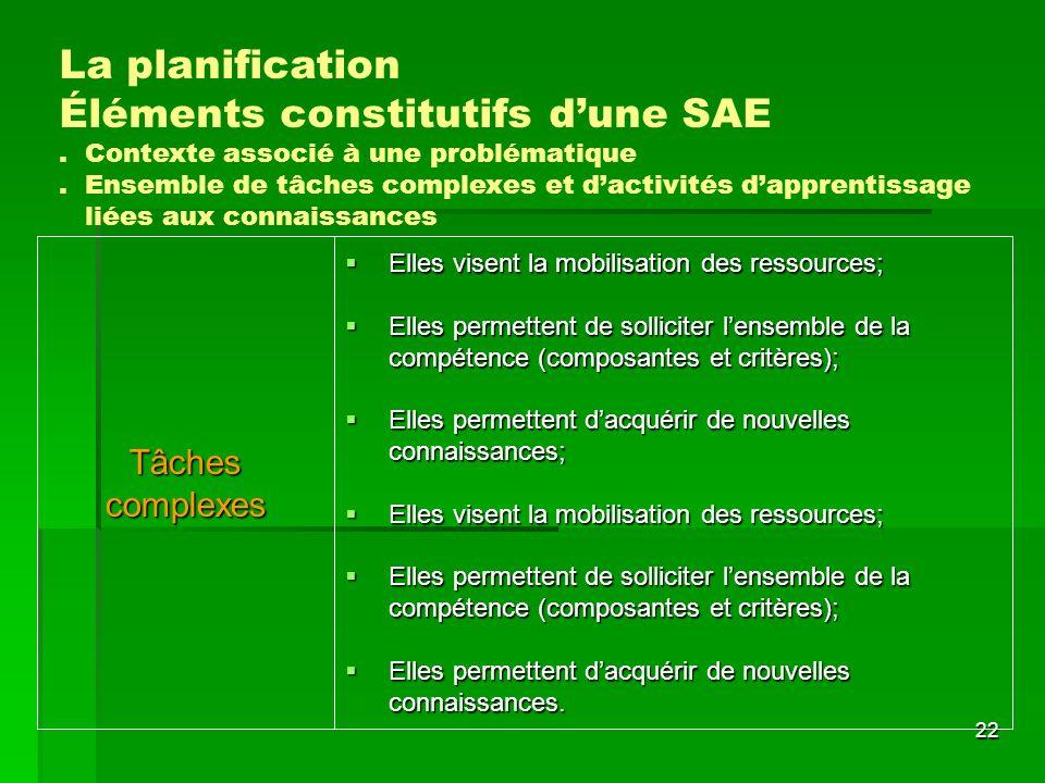 Éléments constitutifs d'une SAE