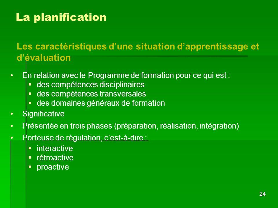 La planification Les caractéristiques d'une situation d'apprentissage et d'évaluation En relation avec le Programme de formation pour ce qui est :