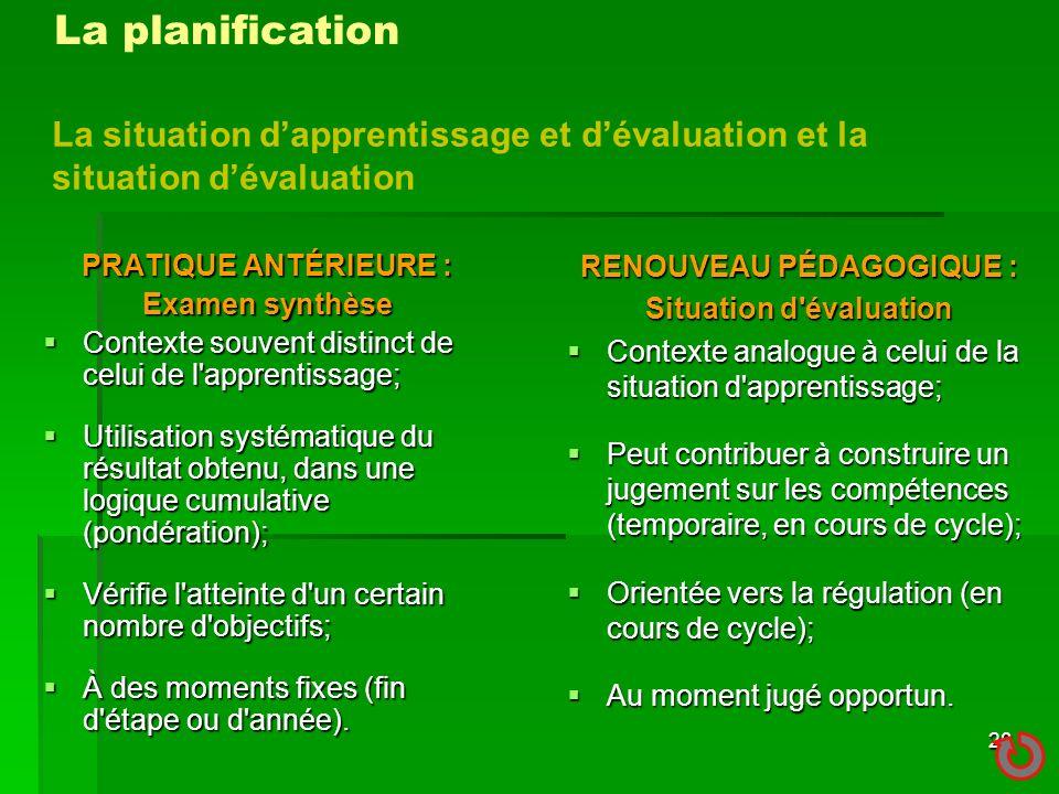 RENOUVEAU PÉDAGOGIQUE : Situation d évaluation