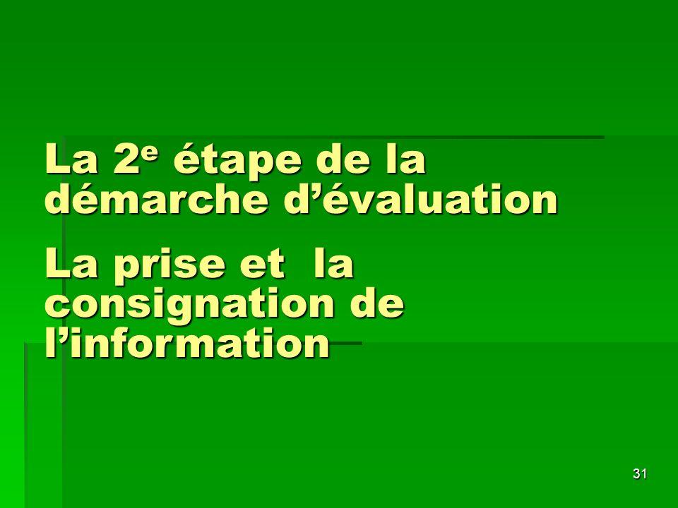 La 2e étape de la démarche d'évaluation