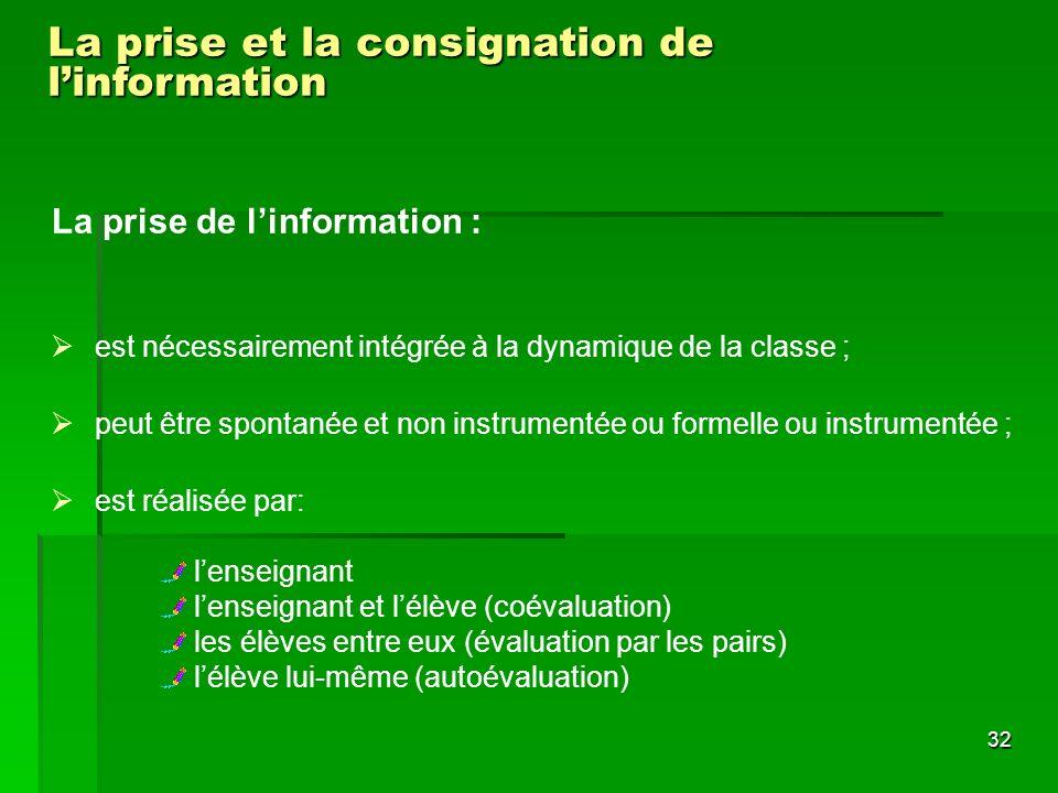 La prise et la consignation de l'information
