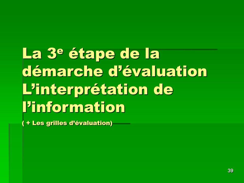 La 3e étape de la démarche d'évaluation