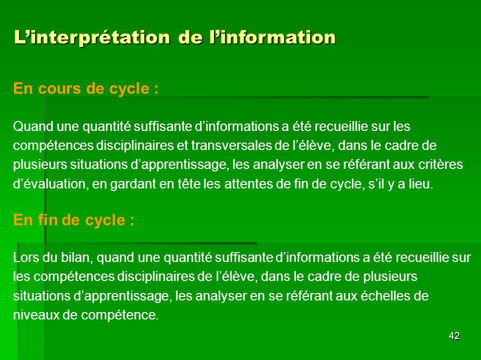 L'interprétation de l'information