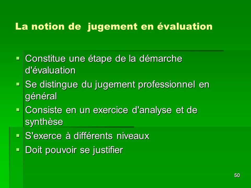 La notion de jugement en évaluation