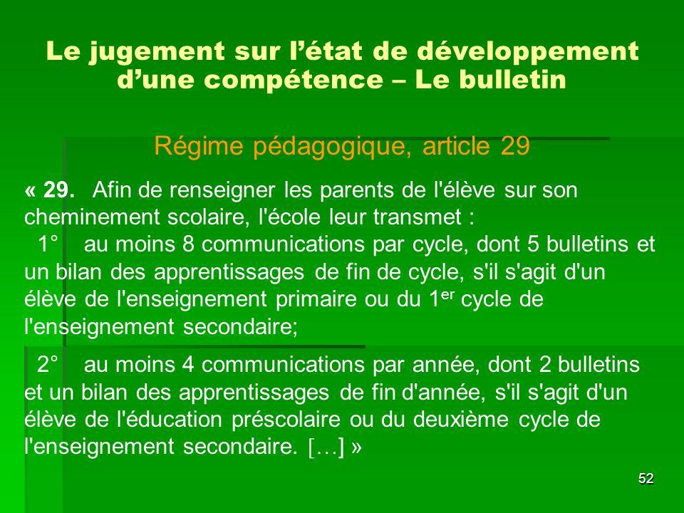 Le jugement sur l'état de développement d'une compétence – Le bulletin