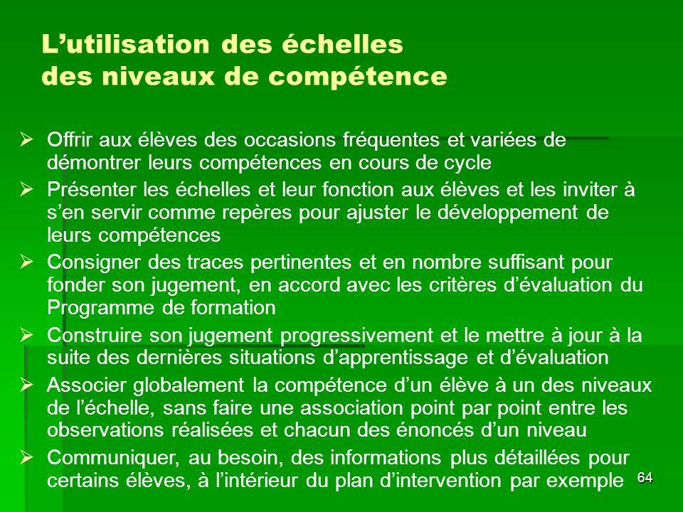 L'utilisation des échelles des niveaux de compétence
