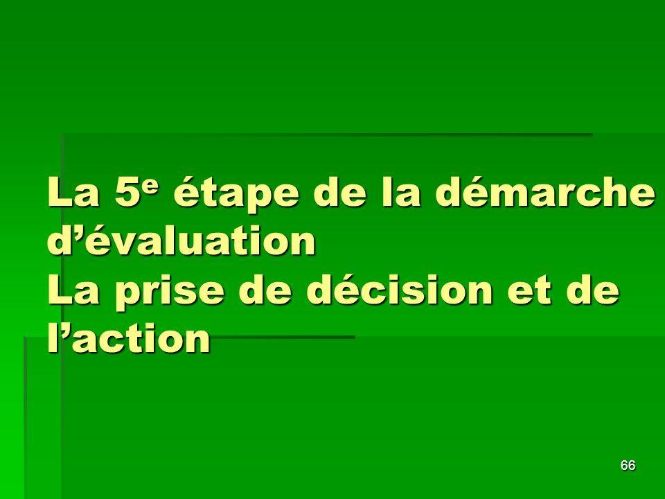 La 5e étape de la démarche d'évaluation