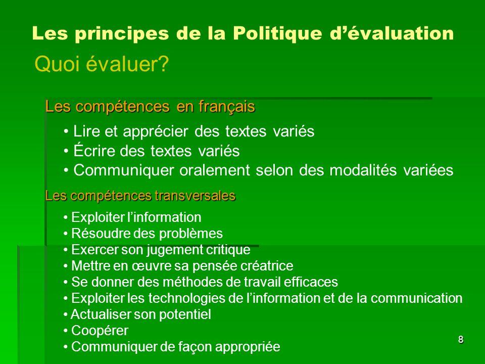 Quoi évaluer Les principes de la Politique d'évaluation