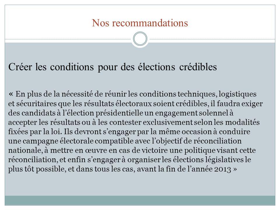 Créer les conditions pour des élections crédibles