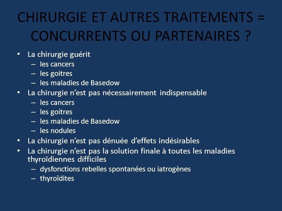 CHIRURGIE ET AUTRES TRAITEMENTS = CONCURRENTS OU PARTENAIRES