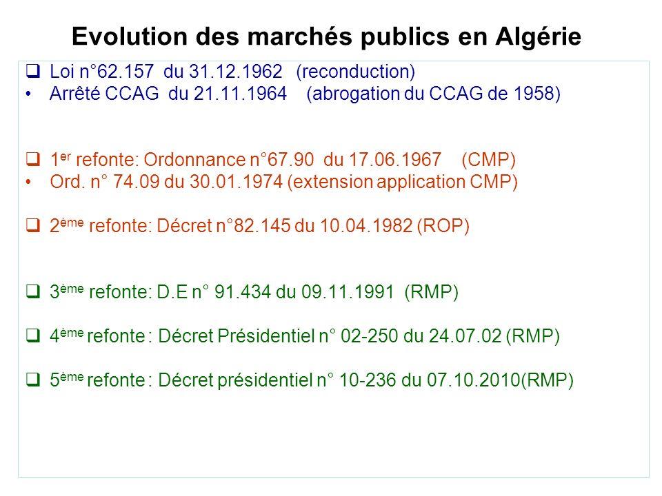 Evolution des marchés publics en Algérie