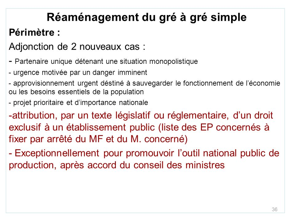 Réaménagement du gré à gré simple