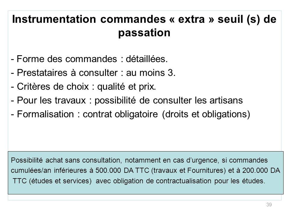 Instrumentation commandes « extra » seuil (s) de passation
