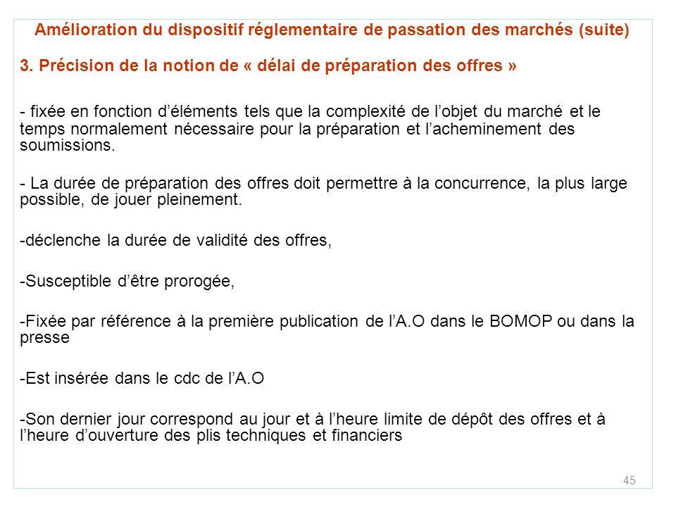 3. Précision de la notion de « délai de préparation des offres »