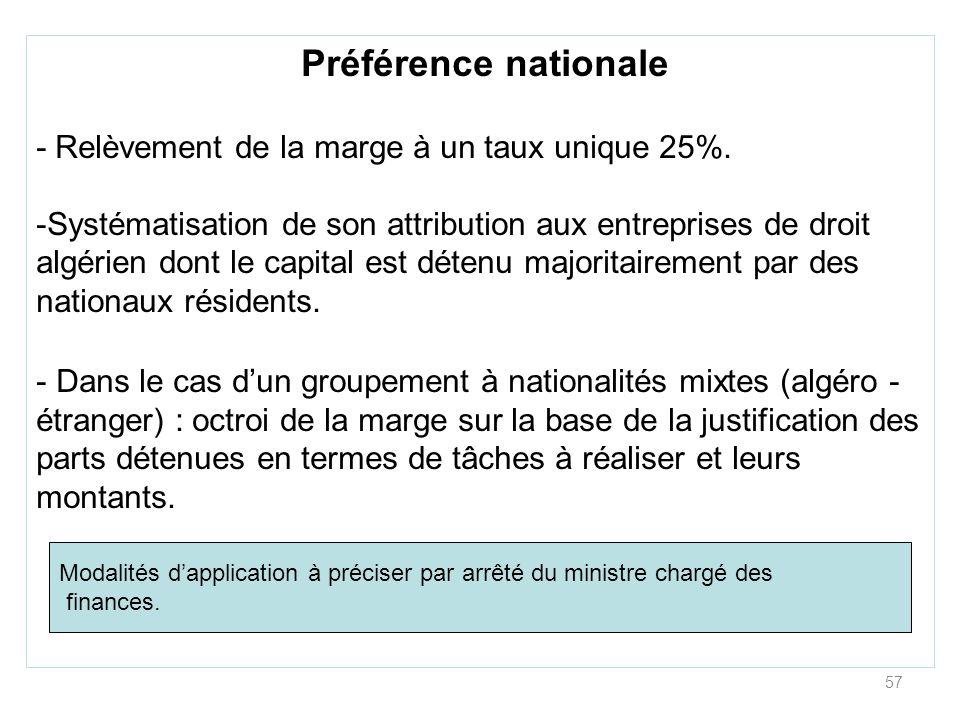 Préférence nationale - Relèvement de la marge à un taux unique 25%.