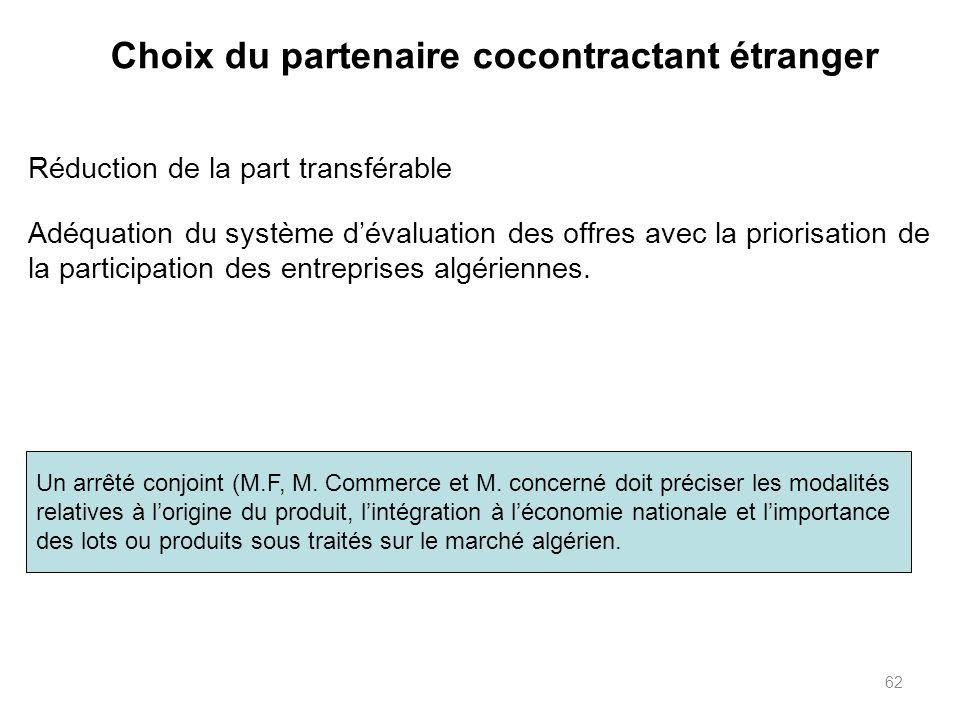 Choix du partenaire cocontractant étranger