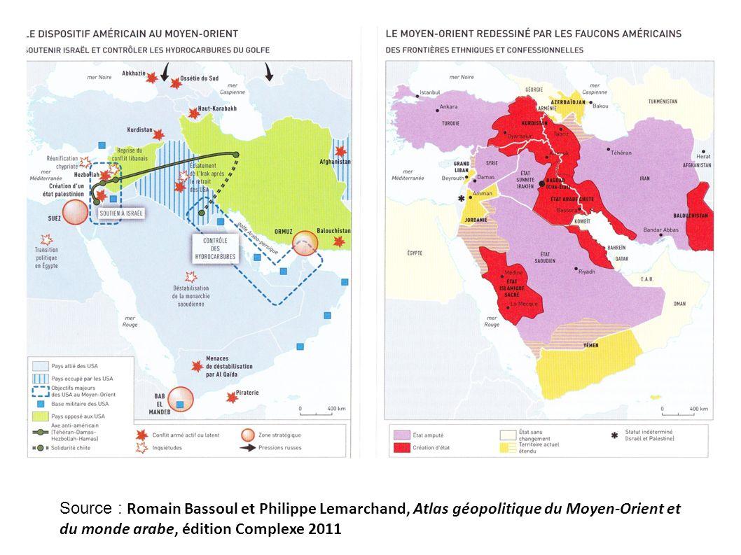 Source : Romain Bassoul et Philippe Lemarchand, Atlas géopolitique du Moyen-Orient et du monde arabe, édition Complexe 2011