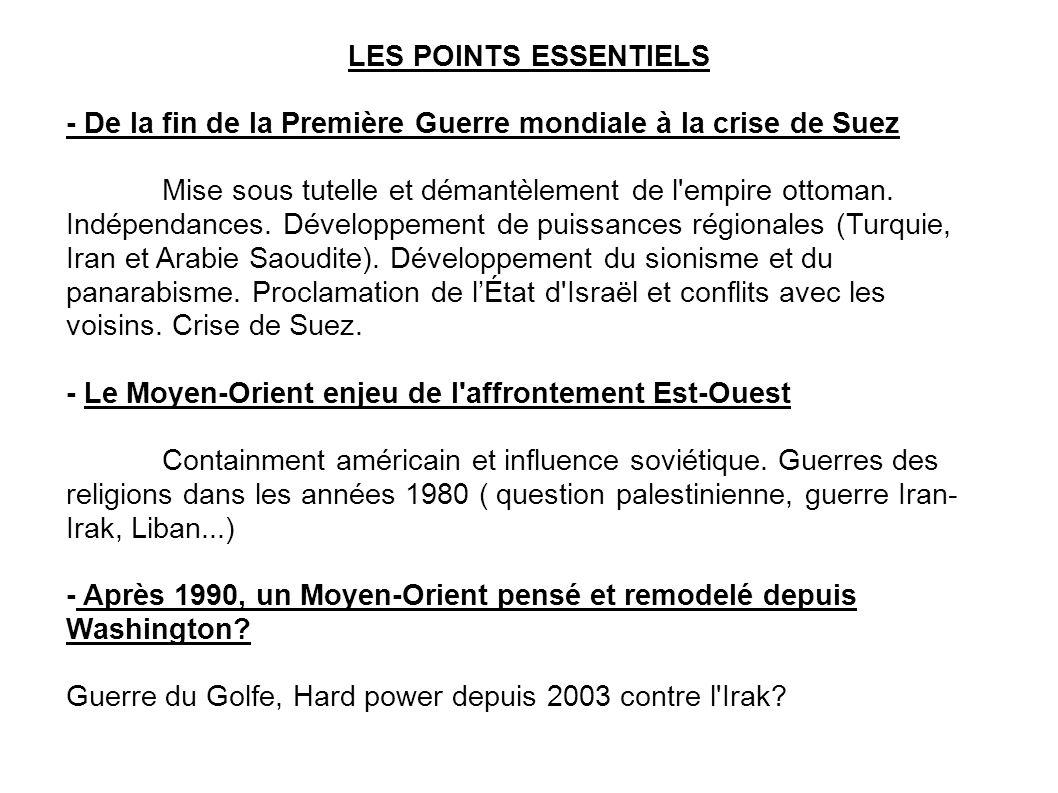 LES POINTS ESSENTIELS - De la fin de la Première Guerre mondiale à la crise de Suez.