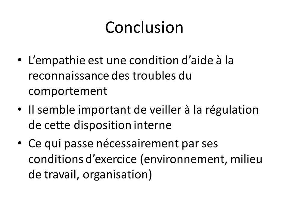 ConclusionL'empathie est une condition d'aide à la reconnaissance des troubles du comportement.