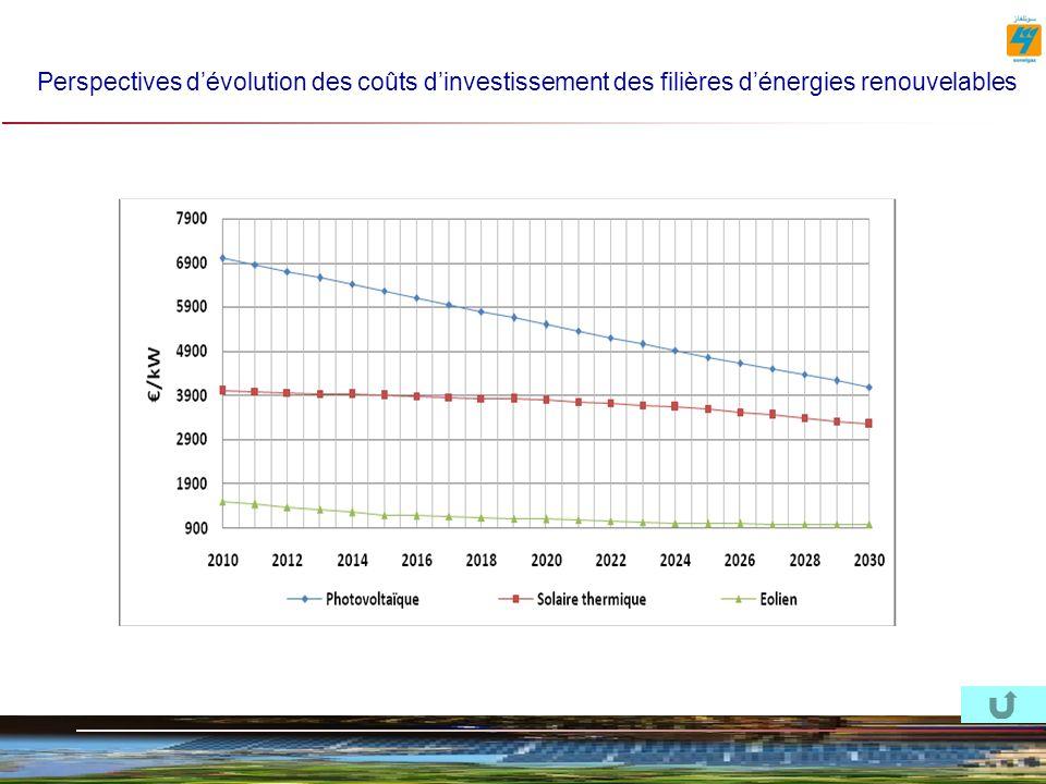 Perspectives d'évolution des coûts d'investissement des filières d'énergies renouvelables