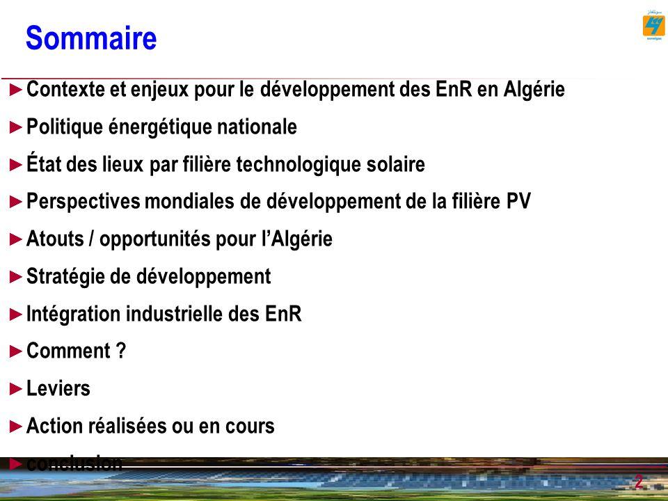 Sommaire Contexte et enjeux pour le développement des EnR en Algérie