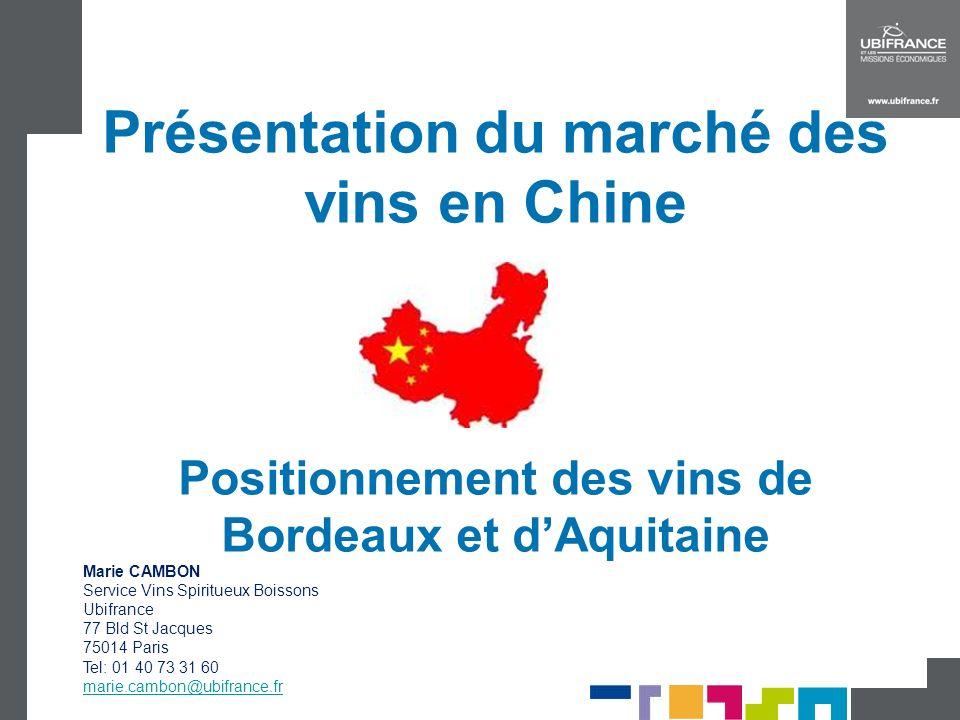 Présentation du marché des vins en Chine Positionnement des vins de Bordeaux et d'Aquitaine