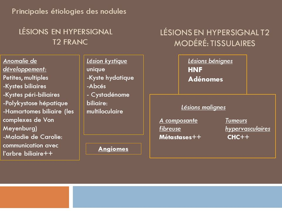 Principales étiologies des nodules Lésions en hypersignal t2 franc