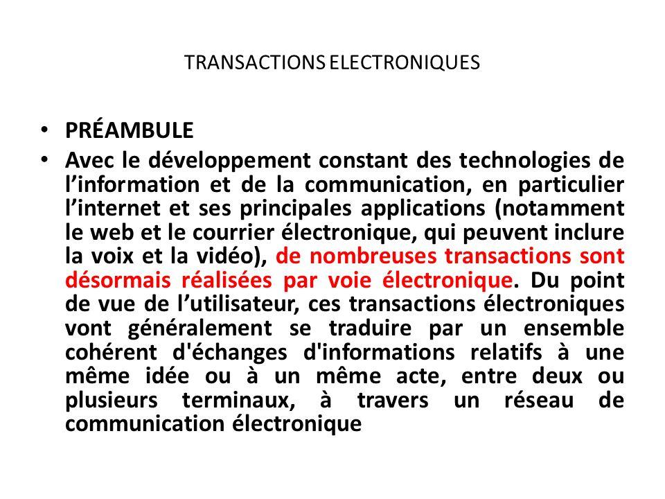TRANSACTIONS ELECTRONIQUES