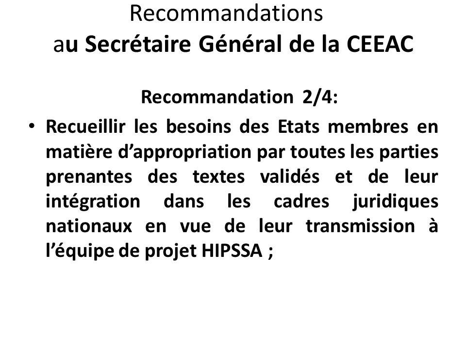 Recommandations au Secrétaire Général de la CEEAC