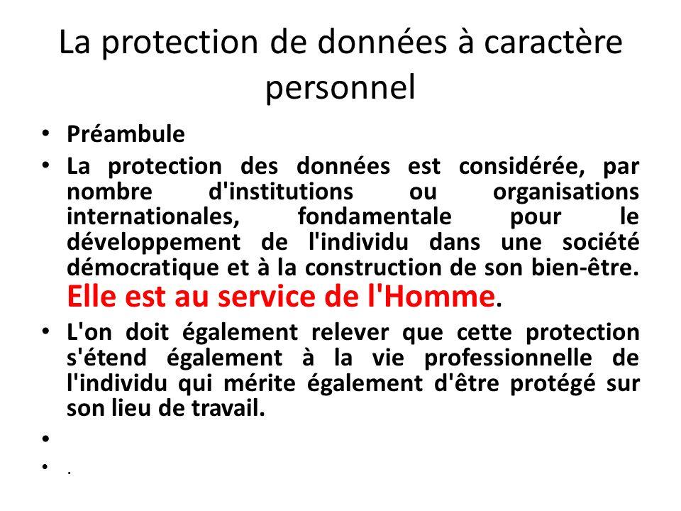 La protection de données à caractère personnel