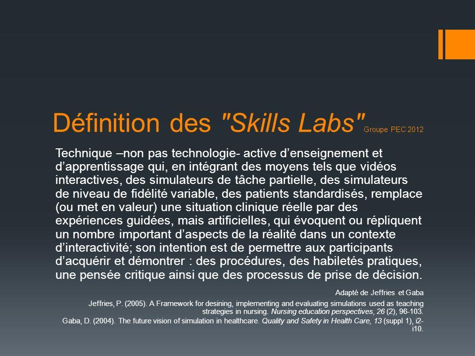 Définition des Skills Labs Groupe PEC 2012