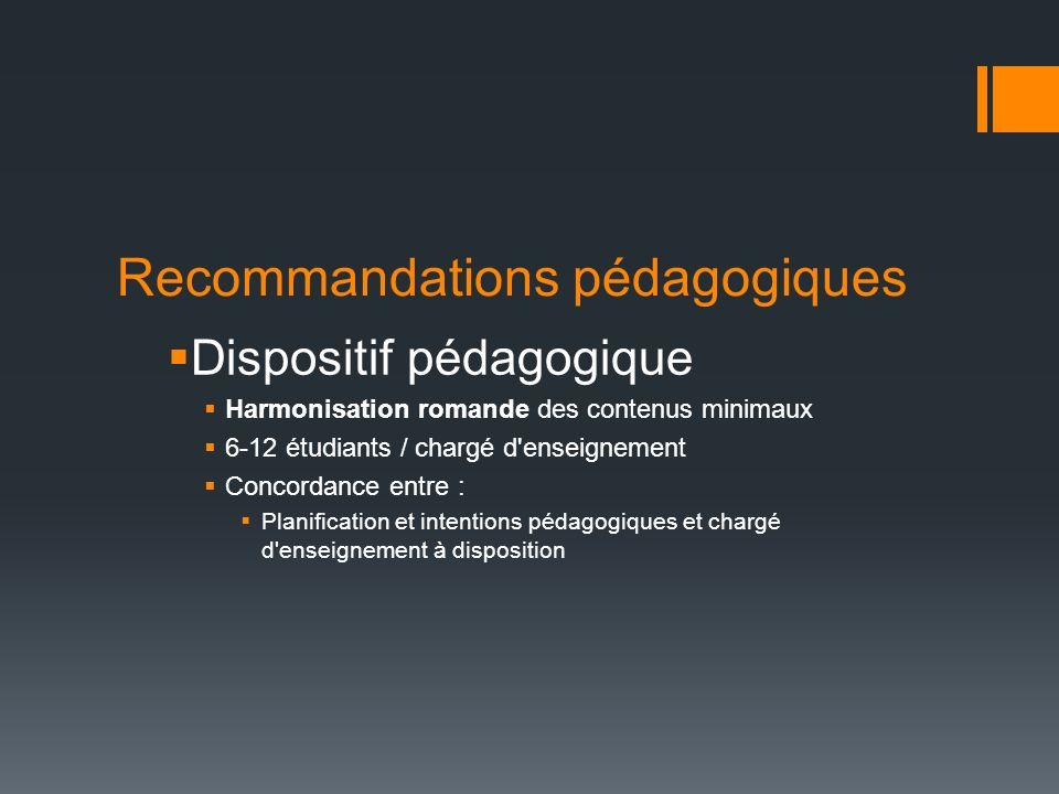 Recommandations pédagogiques