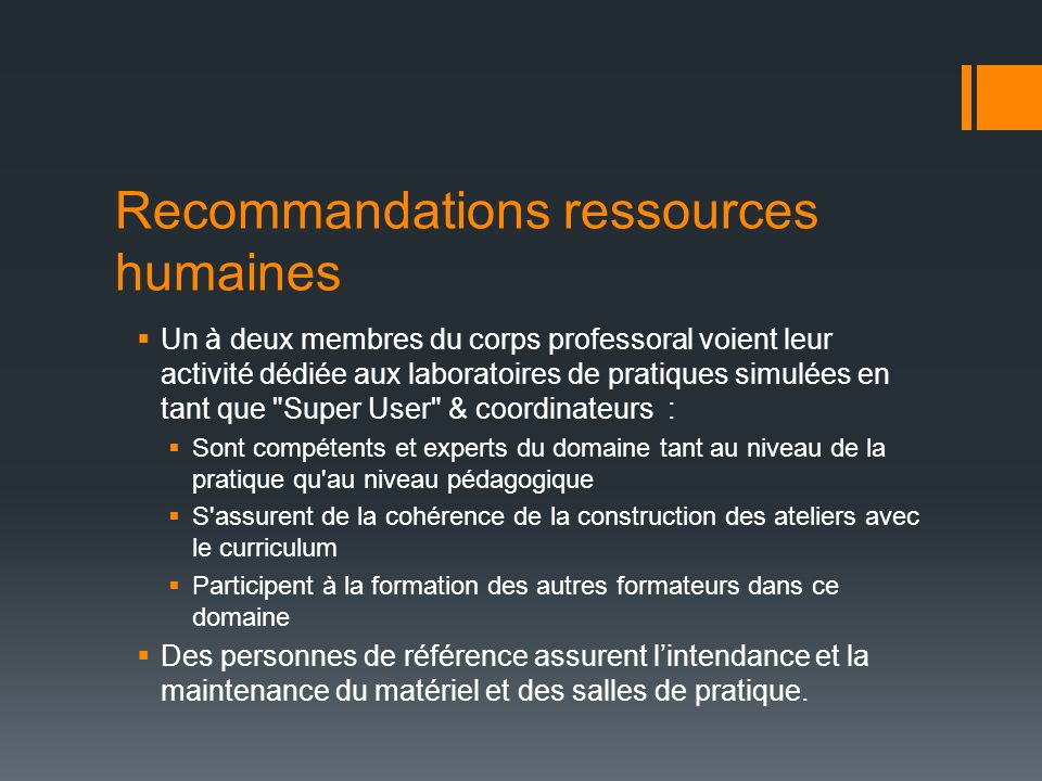 Recommandations ressources humaines