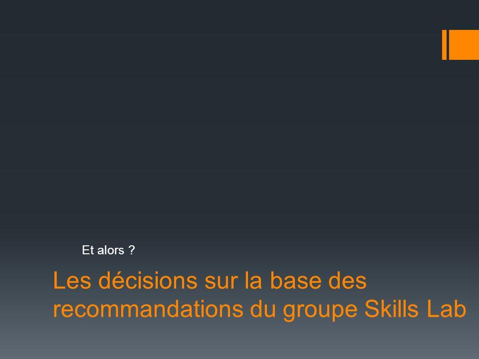 Les décisions sur la base des recommandations du groupe Skills Lab