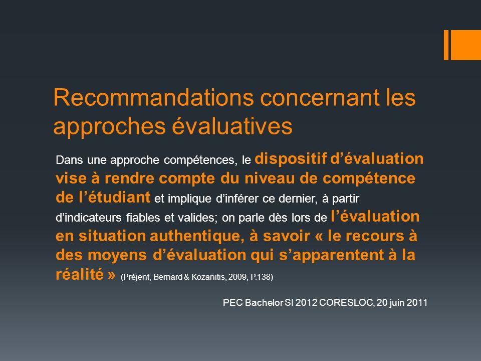 Recommandations concernant les approches évaluatives