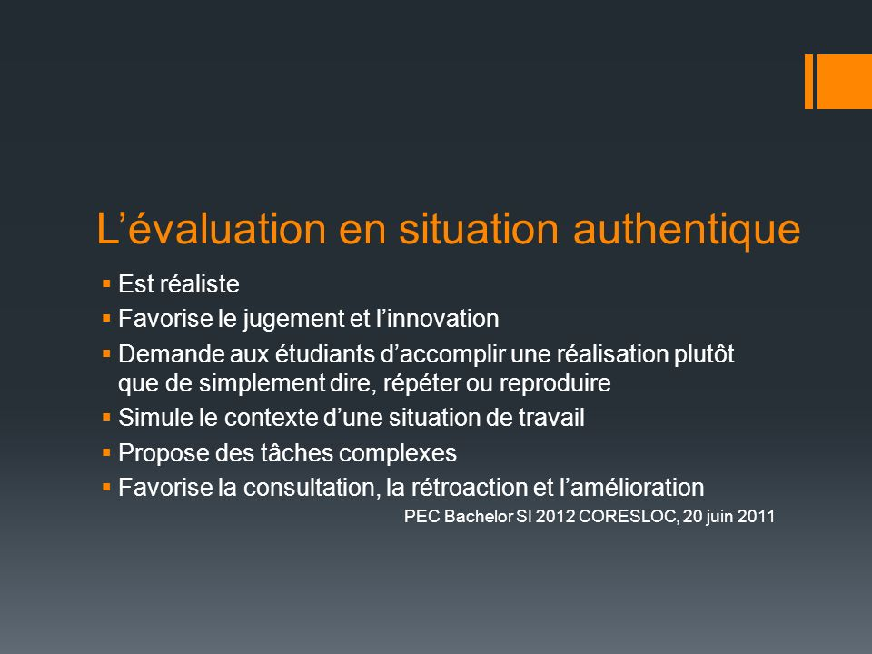 L'évaluation en situation authentique
