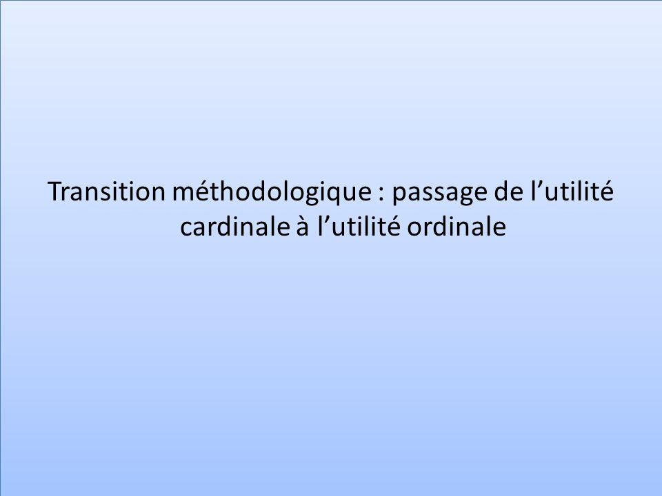 Transition méthodologique : passage de l'utilité cardinale à l'utilité ordinale