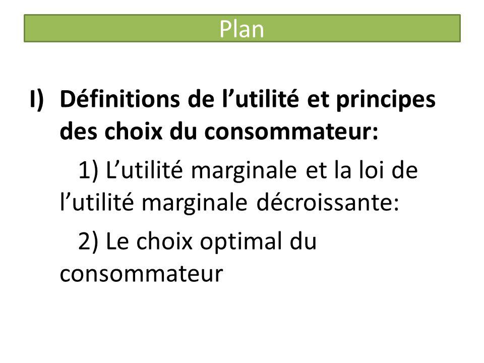 Plan Définitions de l'utilité et principes des choix du consommateur: 1) L'utilité marginale et la loi de l'utilité marginale décroissante: