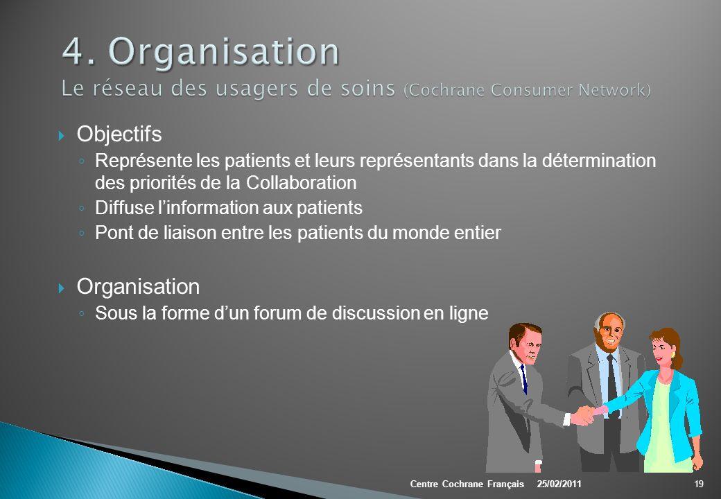 4. Organisation Le réseau des usagers de soins (Cochrane Consumer Network)