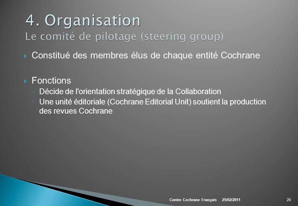 4. Organisation Le comité de pilotage (steering group)