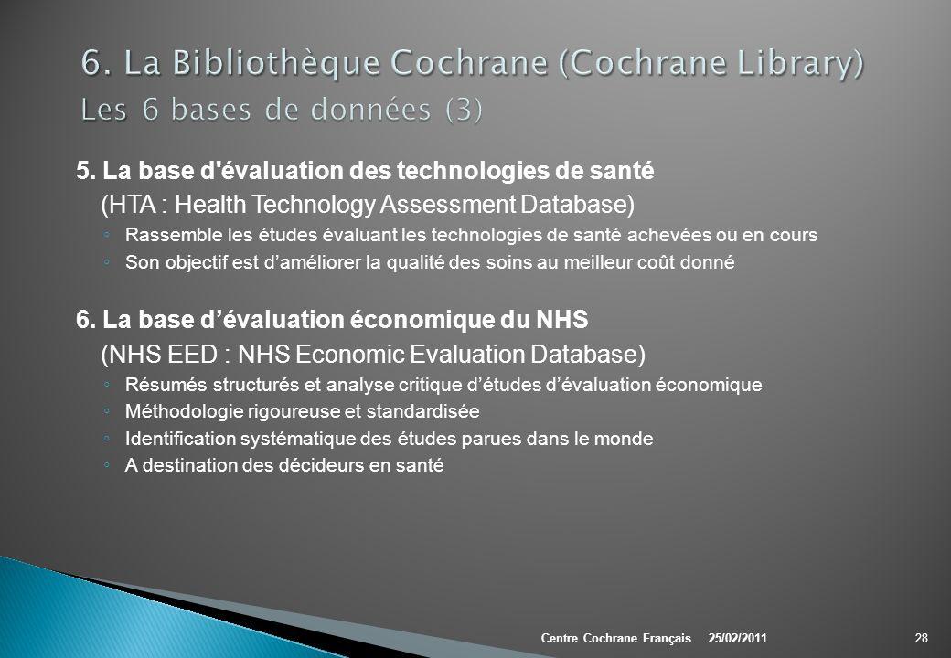 6. La Bibliothèque Cochrane (Cochrane Library) Les 6 bases de données (3)