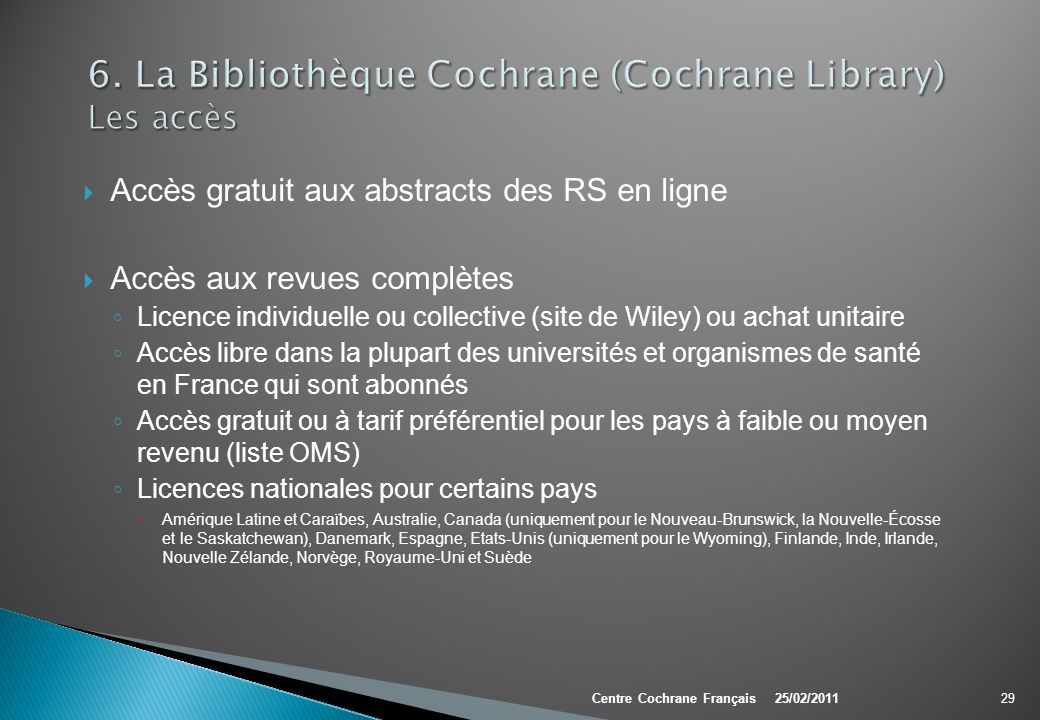 6. La Bibliothèque Cochrane (Cochrane Library) Les accès
