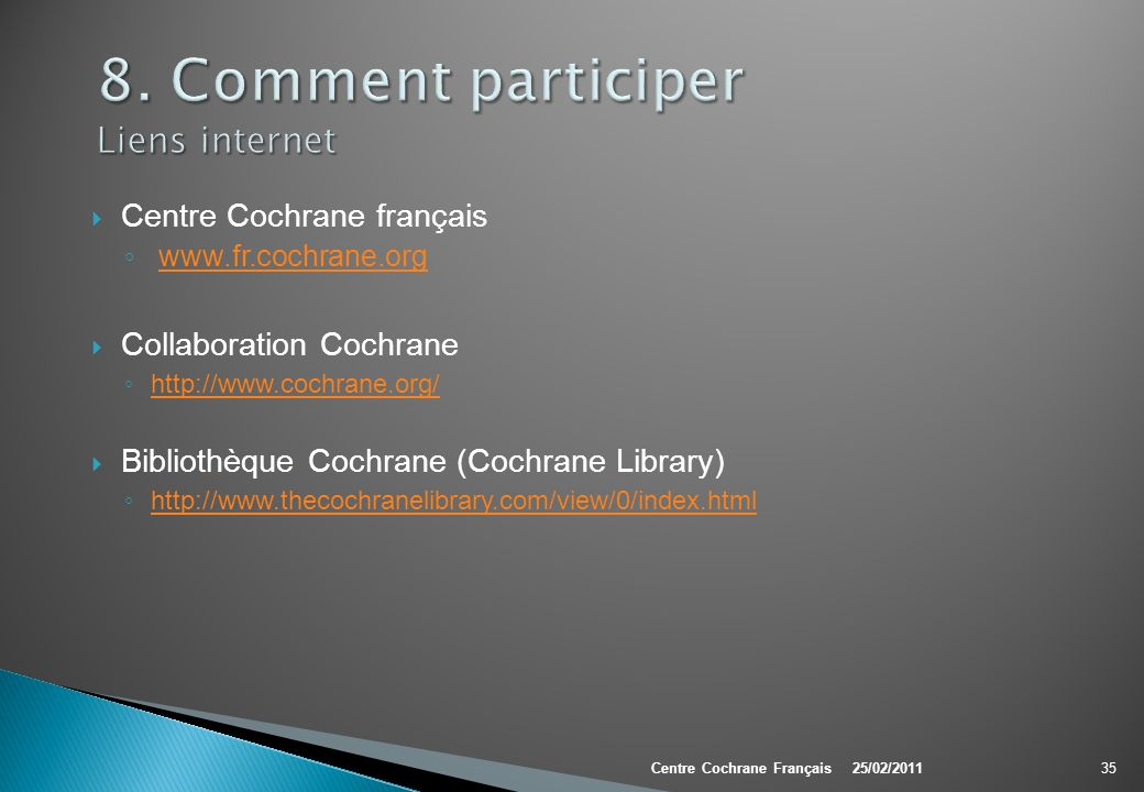 8. Comment participer Liens internet