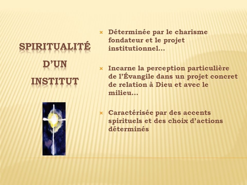 Spiritualité d'un institut