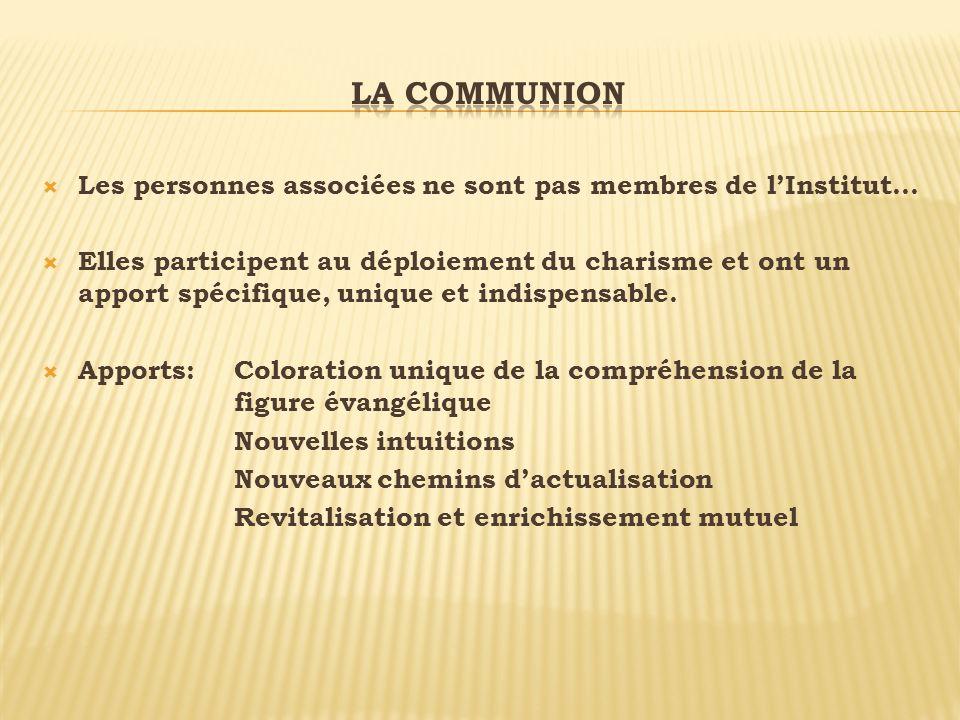 La communion Les personnes associées ne sont pas membres de l'Institut…